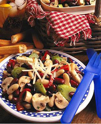 Fresh Mushroom Three Bean Salad